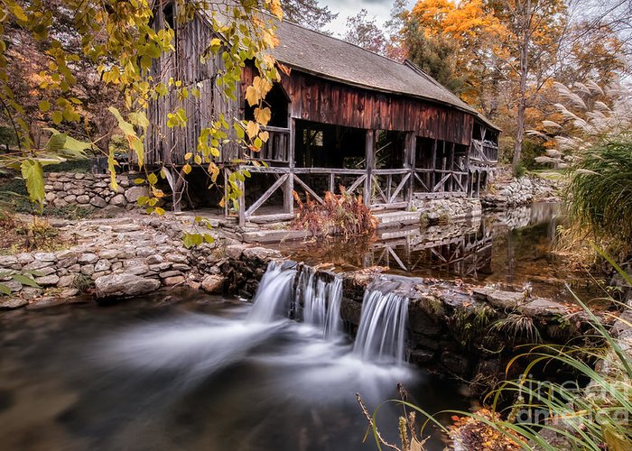 Kent Connecticut Greeting Card featuring the photograph Old Grist Mill - Macedonia Connecticut by Thomas Schoeller