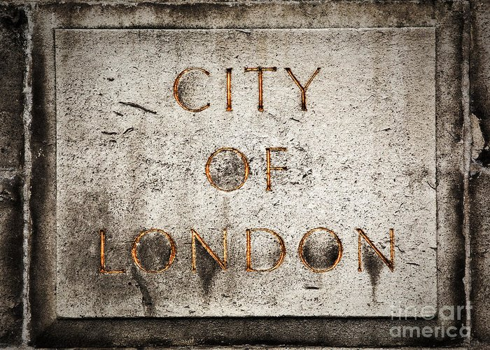 London Greeting Card featuring the photograph Old Grunge Stone Board With City Of London Text by Michal Bednarek