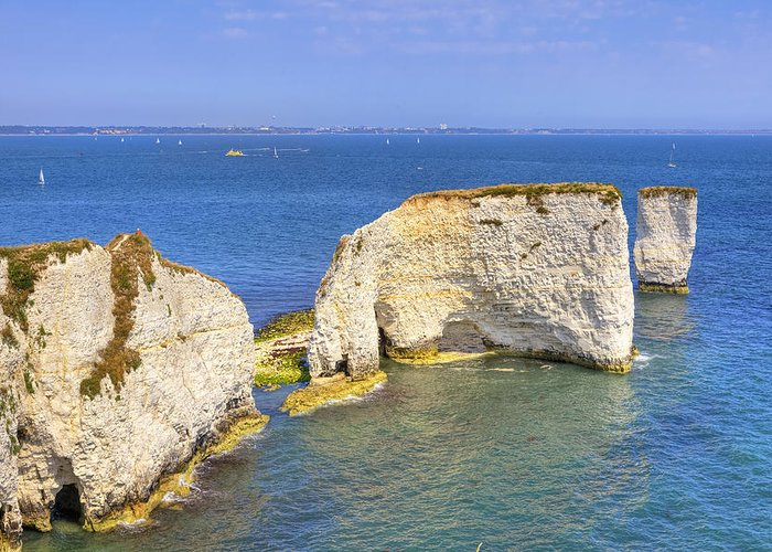 Studland Greeting Card featuring the photograph Old Harry Rocks - Purbeck by Joana Kruse
