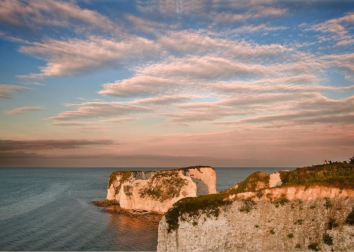 Landscape Greeting Card featuring the photograph Old Harry Rocks Jurassic Coast Unesco Dorset England At Sunset by Matthew Gibson