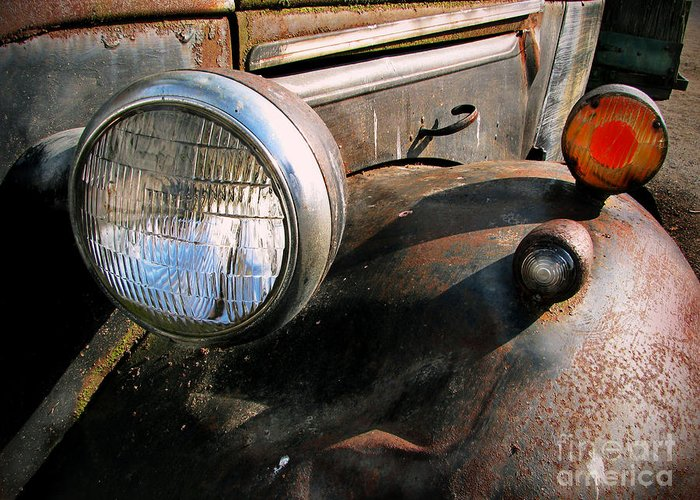 Old Trucks Greeting Card featuring the photograph Old Headlights by Colleen Kammerer