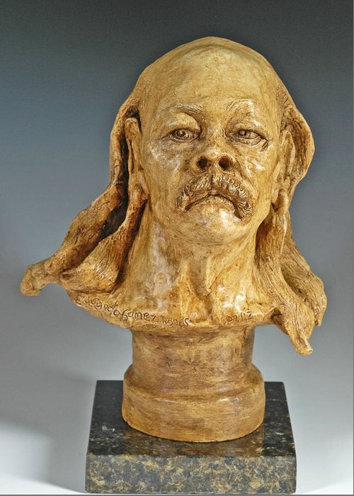 Figurative Sculpture Greeting Card featuring the sculpture Old Hippie by Eduardo Gomez