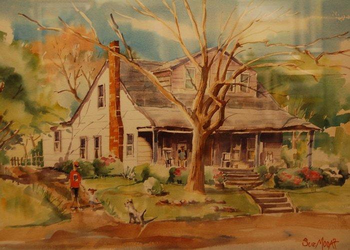 Old Home Place Greeting Card featuring the painting Old Home by Lynn Beazley Blair