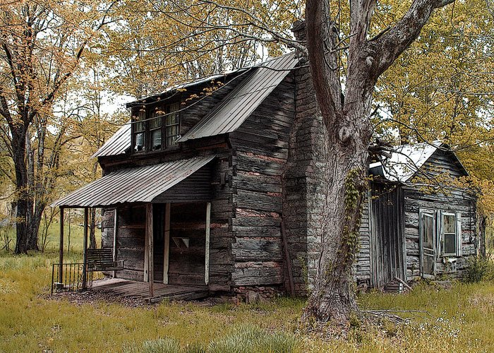 Cabin Greeting Card featuring the photograph Old Home Place by TnBackroadsPhotos