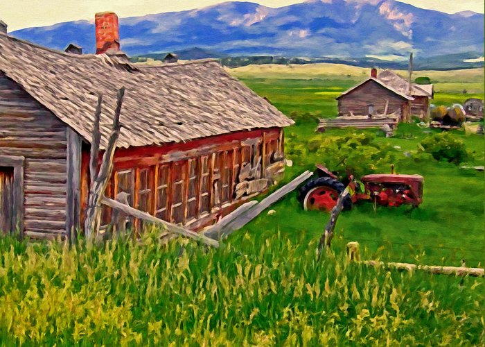 Montana Greeting Card featuring the painting Old Homestead Near Townsend Montana by Michael Pickett