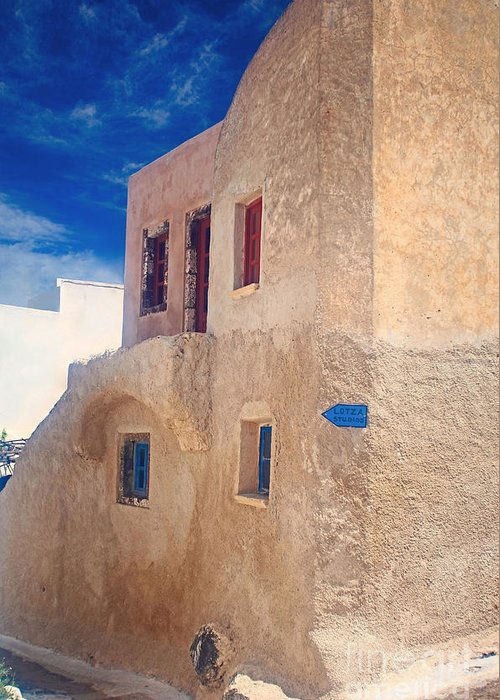 Santorini Greeting Card featuring the photograph Old House In Oia by Aiolos Greek Collections