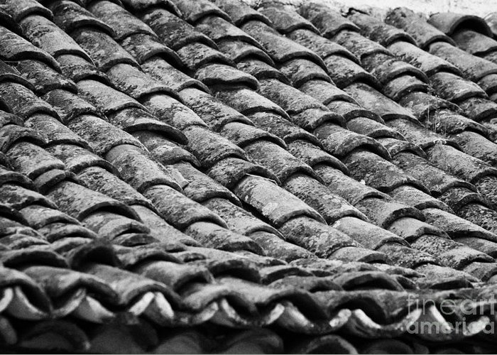 Europe Greeting Card featuring the photograph old house roof tiled with traditional old spanish roof tiles Tenerife Canary Islands Spain by Joe Fox