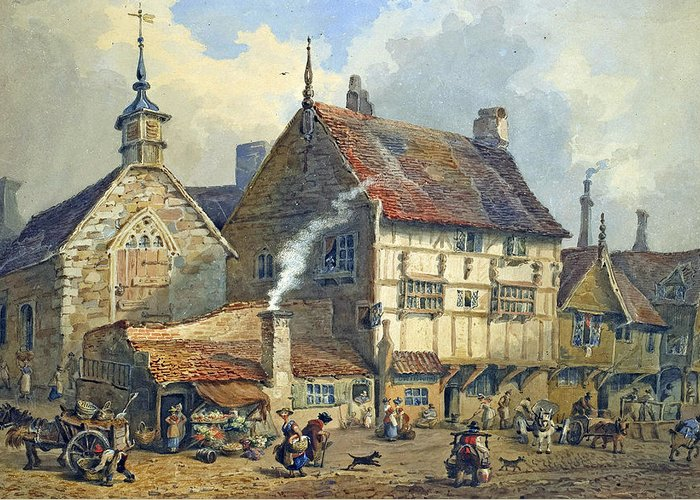 Old; Houses; House; St; Olaves; Church; Lower; Bridge; Street; Chester; Cheshire; Medieval; Architecture; Half-timbered; Half; Timbered; Daily; Life; Scene; Figure; Figures; Busy; Town; City; Shop; Shops; Commerce; Trade; Fruit And Vegetable; Stall; Fruit; Vegetable; Smoke; Smoking; Chimney; Anecdotal; Horse And Cart; Horse; Cart; English; British; Greeting Card featuring the painting Old Houses And St Olaves Church by George Shepherd