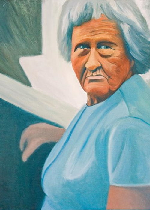 Portrait Greeting Card featuring the painting Old Lady In St. Louis by Stephen Degan