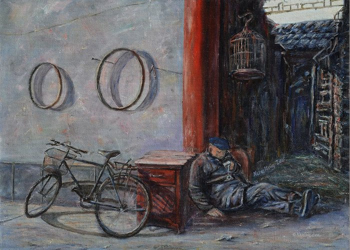 Ancient Greeting Card featuring the painting Old Man And His Bike by Xueling Zou