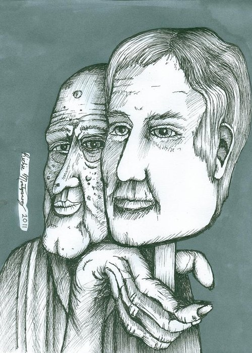 Old Greeting Card featuring the painting Old Man Behind A Young Mans Face by Richie Montgomery