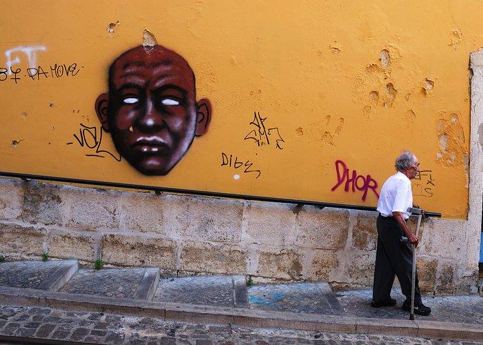 Elevador Da Bica Greeting Card featuring the photograph Old Man Graffiti by Luis Esteves