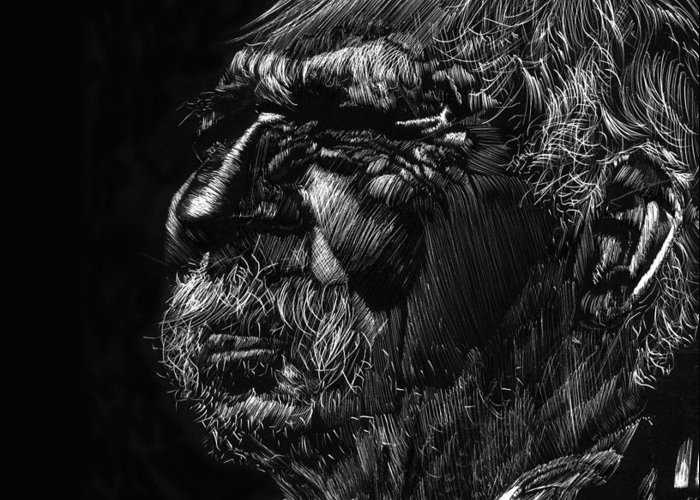 Scratchboard Greeting Card featuring the drawing Old Man by Michele Engling