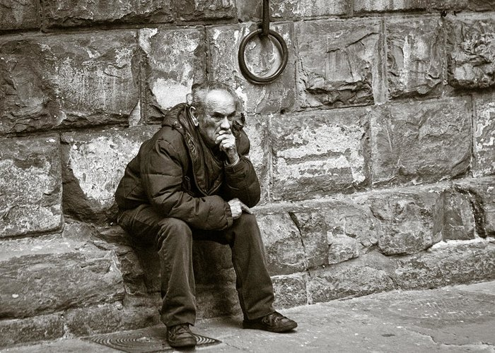 Person Greeting Card featuring the photograph Old Man Pondering by Susan Schmitz