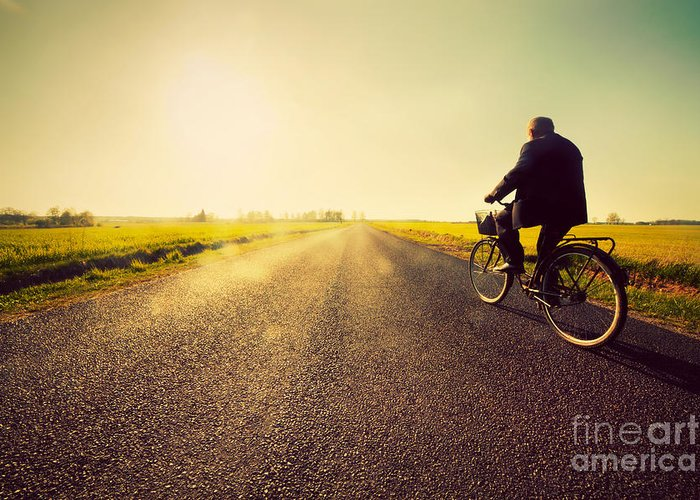 Road Greeting Card featuring the photograph Old Man Riding A Bike To Sunny Sunset Sky by Michal Bednarek