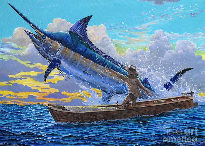 White Marlin Paintings Greeting Cards