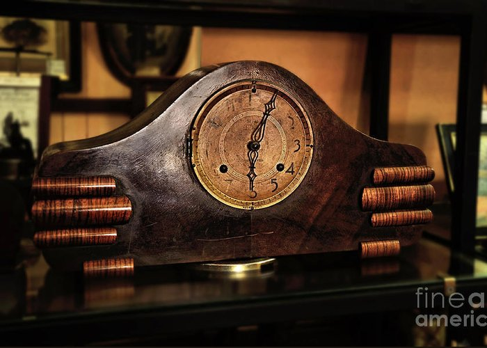Photography Greeting Card featuring the photograph Old Mantelpiece Clock by Kaye Menner