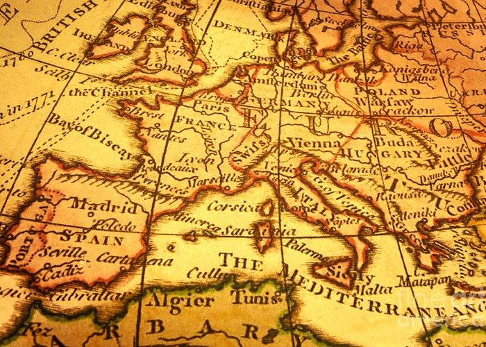 Map Of Europe For Sale.Old Map Of Europe And Mediterranean Greeting Card For Sale By Colin