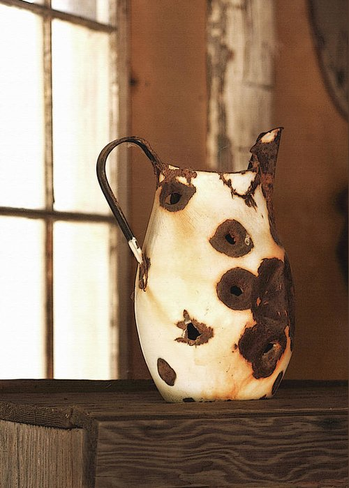 Pitcher Greeting Card featuring the photograph Old Metal Pitcher by Art Block Collections