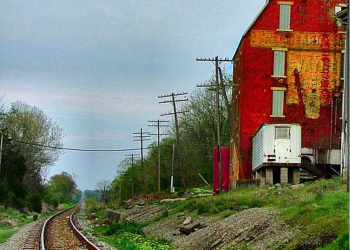 Old Feed Mills Greeting Card featuring the photograph Old Mill On The Tracks by Julie Dant
