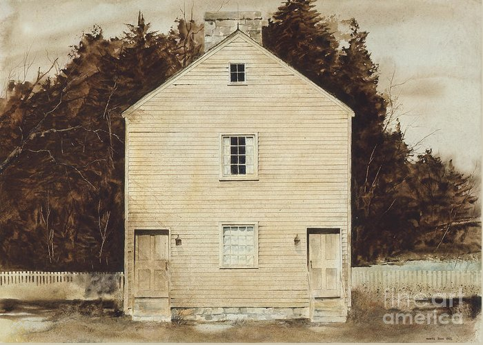 A Simple Wooden Structure Located On The Grounds Of The Pleasant Hill Shaker Village Near Harrodsburg Greeting Card featuring the painting Old Ministry's Shop by Monte Toon