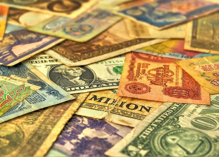 Age; Aged; Ancient; Antique; Background; Banking; Banknote; Business; Cash; Circle; Coins; Collector; Concept; Currency; Design; Detail; Dirty; Dollar; European Currency; Exchange Rate; Finance; Focus; Global; Global Business; History; Interest Rate; Money; Old; Paper; Paper Currency; Retro; Retro Revival; Round; Savings; Soft Focus; Text; Value; Vintage; Greeting Card featuring the photograph Old Money by Ioan Panaite