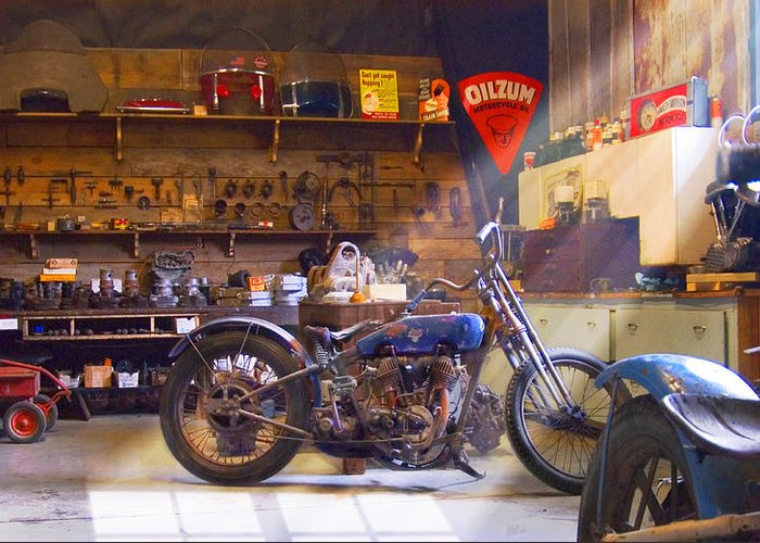 Motorcycle Shop Greeting Card featuring the photograph Old Motorcycle Shop 2 by Mike McGlothlen