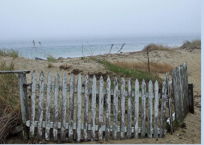 Salt Air Greeting Card featuring the photograph Old Nantucket Fence by Susan Wyman