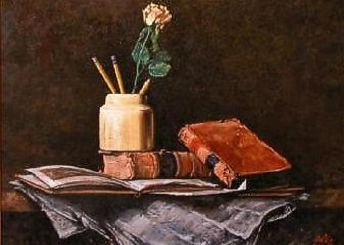 Still Life Greeting Card featuring the painting Old News by Jim Gola