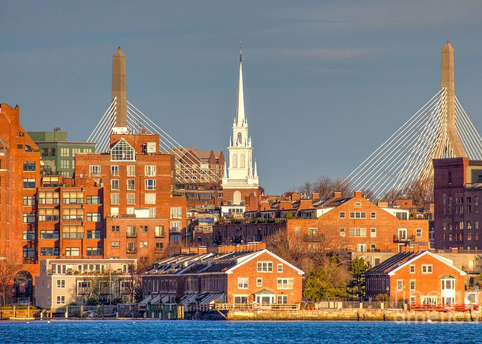 April Greeting Card featuring the photograph Old North Church And The Zakim Bridge by Susan Cole Kelly