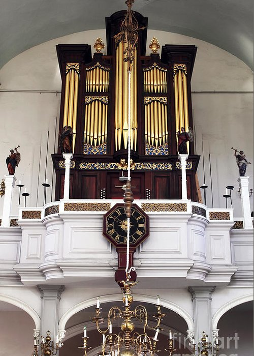 Old North Church Organ Greeting Card featuring the photograph Old North Church Organ by John Rizzuto