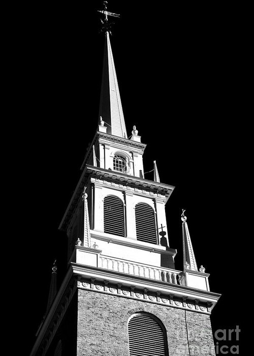 Old North Church Star Greeting Card featuring the photograph Old North Church Star by John Rizzuto