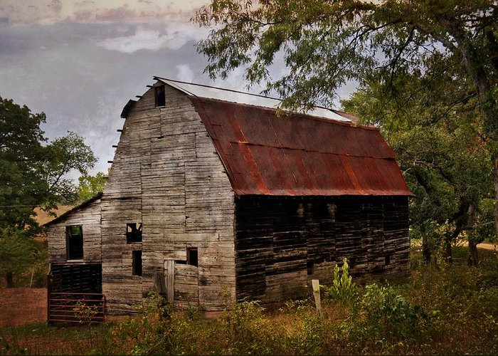 Barn Greeting Card featuring the photograph Old Oak Barn by Marty Koch