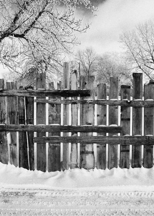 Old Greeting Card featuring the photograph old patched up wooden fence using old bits of wood in snow Forget Saskatchewan by Joe Fox