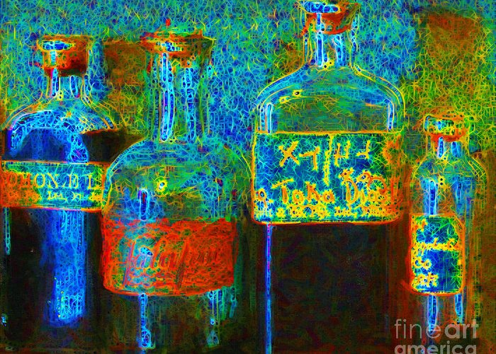 Medicine Greeting Card featuring the photograph Old Pharmacy Bottles - 20130118 V1a by Wingsdomain Art and Photography