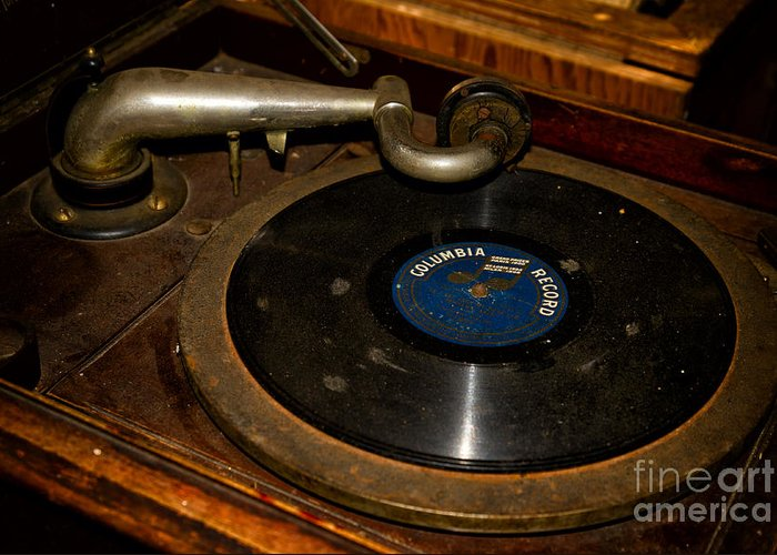 Vinyl Greeting Card featuring the photograph Old Phonograph by Les Palenik