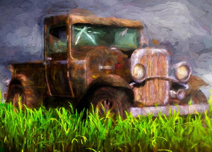 Truck Greeting Card featuring the painting Old Pickup by Bob Orsillo