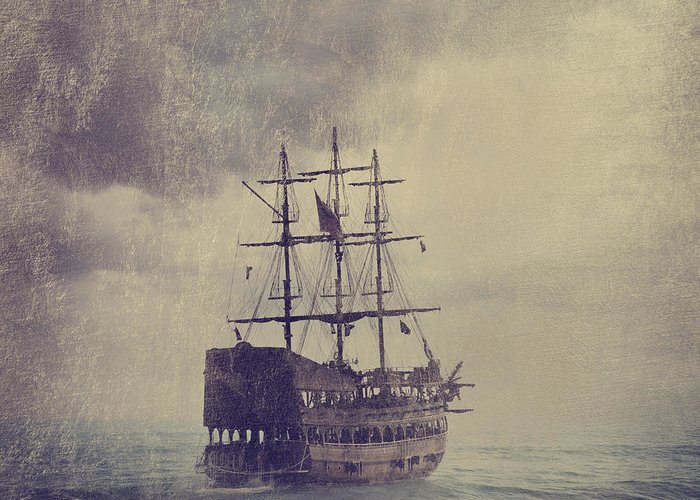 Ship Greeting Card featuring the digital art Old Pirate Ship by Jelena Jovanovic