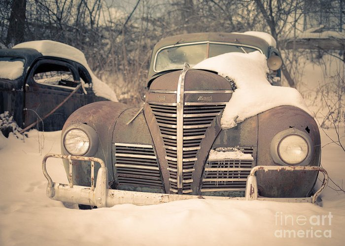 White Greeting Card featuring the photograph Old Plymouth Classic Car In The Snow by Edward Fielding