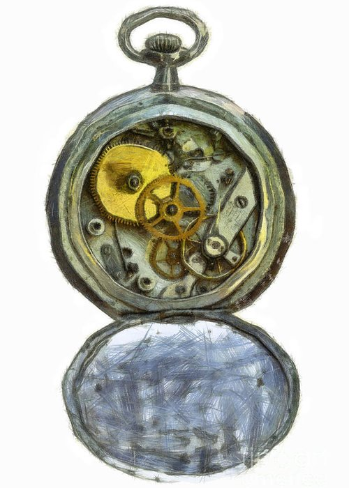 Antique Greeting Card featuring the digital art Old Pocket Watch by Michal Boubin