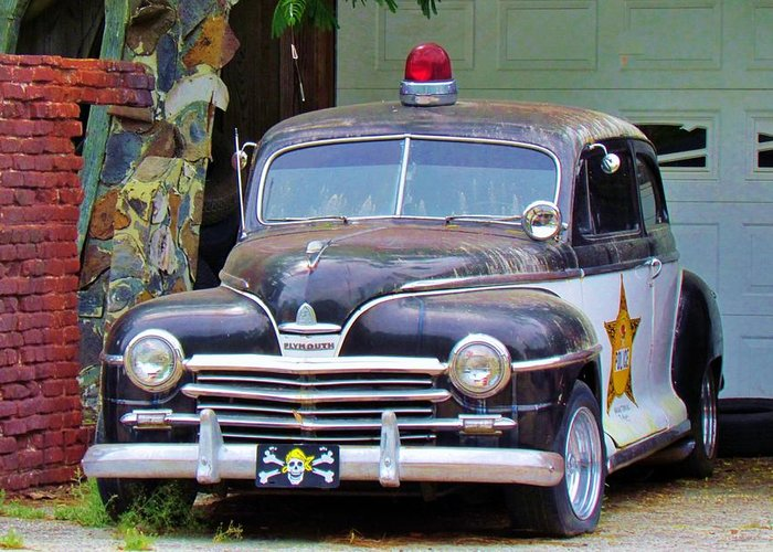 Police Car For Sale >> Old Police Car Greeting Card For Sale By Cynthia Guinn