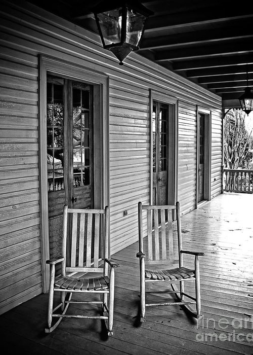 Porch Greeting Card featuring the photograph Old Porch Rockers by Perry Webster