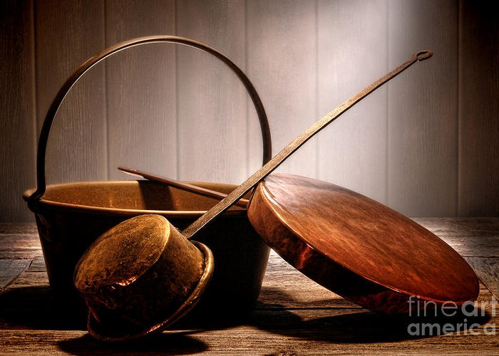 Pots And Pans Greeting Card featuring the photograph Old Pots And Pans by Olivier Le Queinec