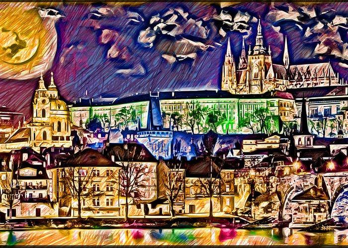 Old Prague Magic-wallpaper Greeting Card featuring the digital art Old Prague Magic - Wallpaper by Daniel Janda