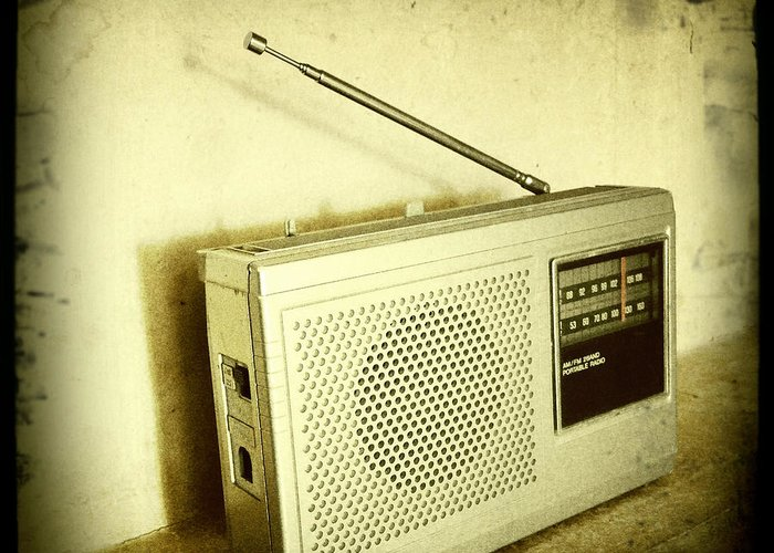 Sepia Greeting Card featuring the photograph Old Radio by Les Cunliffe