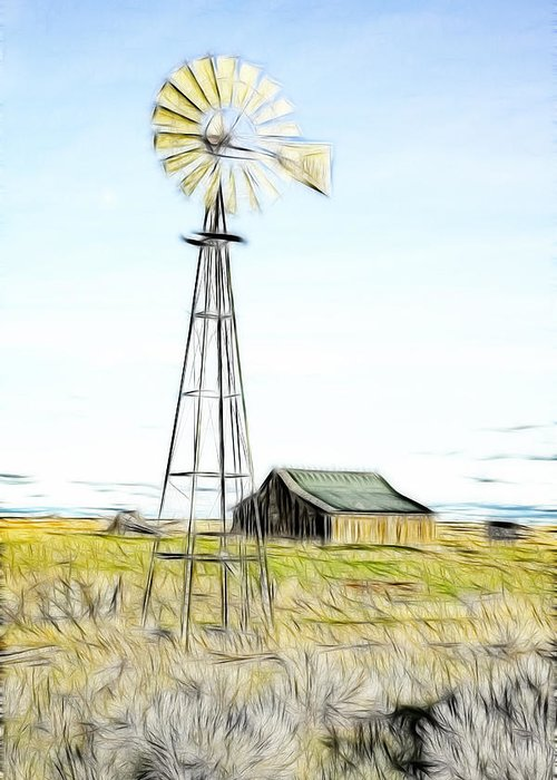 Cabin Greeting Card featuring the photograph Old Ranch Windmill by Steve McKinzie