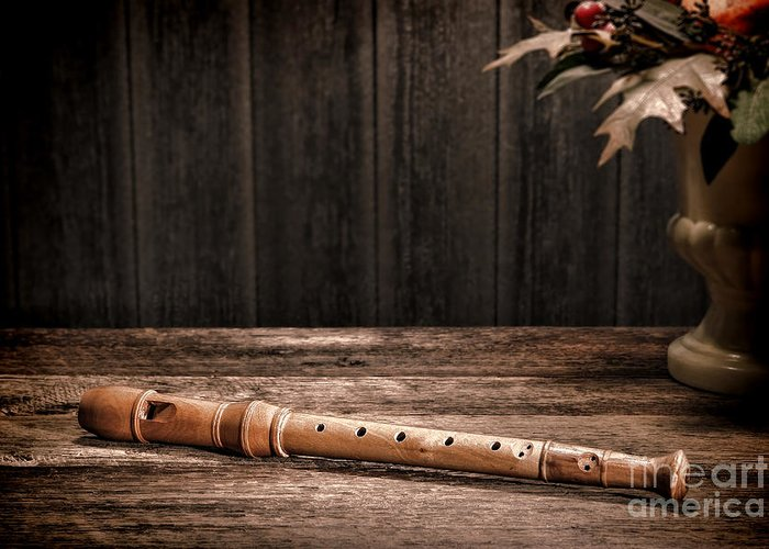 Flute Greeting Card featuring the photograph Old Recorder by Olivier Le Queinec