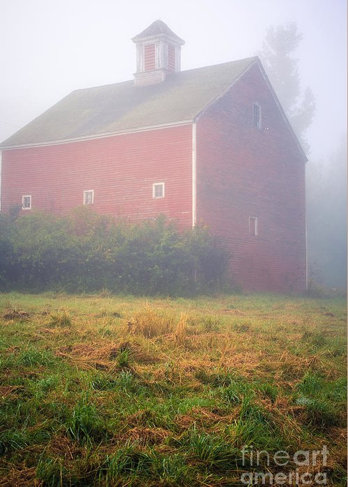 Mist Greeting Card featuring the photograph Old Red Barn In Fog by Edward Fielding