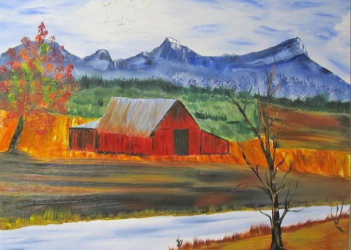 Barn Greeting Card featuring the painting Old Red Barn by Larry Marano