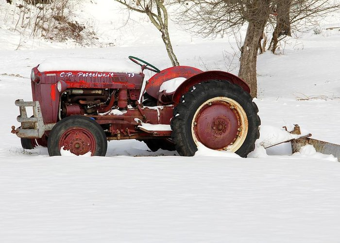 Tractor Greeting Card featuring the photograph Old Red Tractor by Carolyn Postelwait